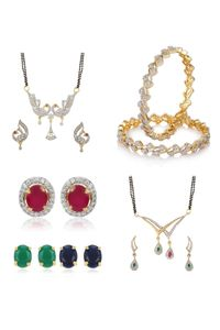 YouBella Pride Collection Combo of 6 in 1 Interchangeable Earrings, Two Mangalsutra and Stylish Bangles for Women