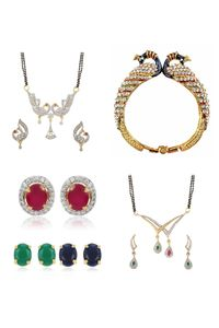 YouBella Women's Pride Collection Combo of 6 in 1 Interchangeable Earrings, Two Designer Mangalsutra and Stylish Bangles