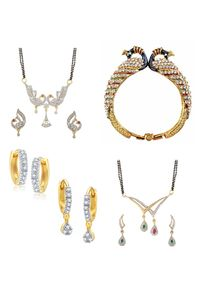 YouBella Women's Pride Collection Combo of Earrings, Two Designer Mangalsutra and Stylish Bangles