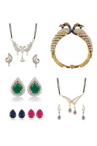 YouBella Women's Pride Collection Combo of 6 in 1 Interchangeable Earrings, 2 Designer Mangalsutra and Stylish Bangles