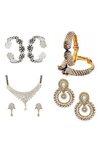 YouBella Pride Collection Combo of 92.5 Sterling Silver Toe Ring, Mangalsutra, Traditional Chandbali Earring and Stylish Bangles for Women