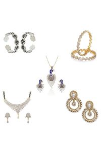 YouBella Women's Pride Collection Combo of 92.5 Sterling Silver Toe Ring, Dancing Peacock Pendant, Designer Mangalsutra, Traditional Chandbali Earring and Stylish Bangles