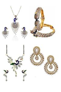 YouBella Women's Pride Collection Combo of Dancing Peacock Pendant, Designer Mangalsutra, Traditional Chandbali Earring and Stylish Bangles