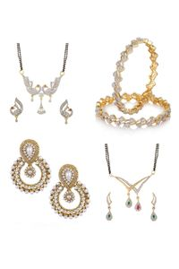 YouBella Women's Pride Collection Combo of TWo Designer Mangalsutra, Traditional Chandbali Earring and Stylish Bangles