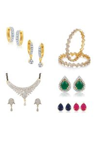 YouBella Women's Pride Collection Combo of Designer Mangalsutra, Two Earrings, Interchangeable Earrings and Stylish Bangles