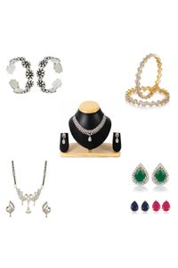 YouBella Pride Combo of 92.5 Sterling Silver Toe Ring, Mangalsutra, Earrings, Bangles and American Diamond Necklace for Women