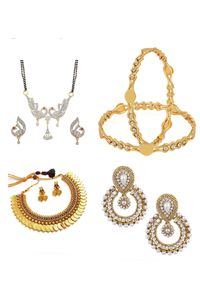 YouBella Women's Pride Combo of American Diamond Necklace, Designer Mangalsutra, Traditional Earring and Stylish Bangles
