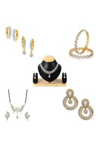 YouBella Women's Pride Collection Combo of Temple Coin Necklace, Designer Mangalsutra, Traditional Earring and Stylish Bangles