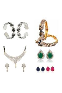 YouBella Pride Collection Combo of 92.5 Sterling Silve Toe Ring, Mangalsutra, 6 in 1 Interchangeable Earrings and Stylish Bangles for Women