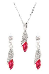 YouBella Valentine Collection Crystal Pendant with Chain and Earrings