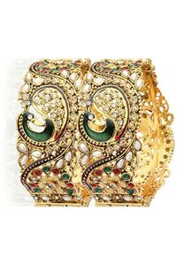 YouBella Dancing Peacock Antique Gold Plated Bangles For Women