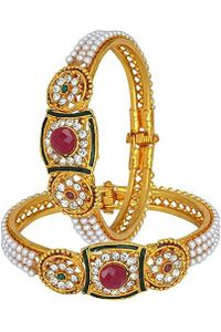 YouBella Gold Plated Pearl Bangles For Women