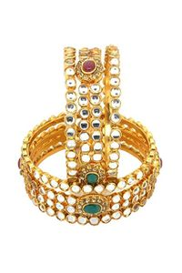 YouBella Gold Plated Kundan Polki Bangles For Women