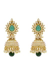 YouBella Traditional Copper Bollywood Style Pearl Jhumki Earrings (Green)