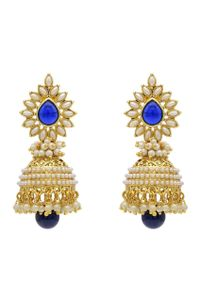 YouBella Traditional Copper Bollywood Style Pearl Jhumki Earrings (Dark Blue)