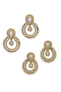 YouBella Combo of Traditional Pearl and American Diamond Earrings for Women