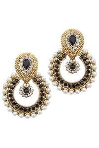 YouBella Ethnic Traditional Pearl Chandbali Earrings (Black)