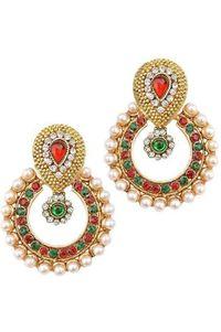 YouBella Ethnic Traditional Pearl Chandbali Earrings (Multi-Red-Green)
