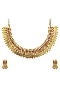 YouBella Red Traditional Temple coin Necklace Set for Women
