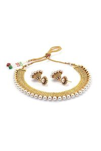 YouBella Traditional Pearl Temple coin Jewellery Set for Women