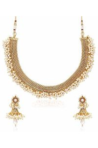 YouBella Latest Traditional Pearl Temple coin Necklace Set / Jewellery Set wi