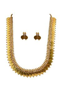 YouBella Long Traditional Maharani Pearl Temple coin Necklace Set for Women