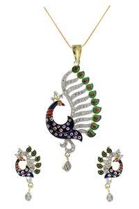 YouBella CZ Designer Peacock Pendant Set with Chain
