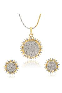 YouBella American Diamond Ethnic Pendant Set with Chain and Earrings