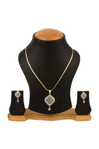 YouBella American Diamond Gold Plated Pendant with Earrings