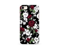 White Pink Roses Black Phone Case