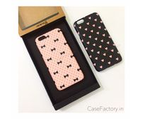 Bow And Polka/Pink Hearts on Black Phone Case