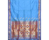 Blue Paithani Pure Silk Handloom Saree Double Pallu p0181
