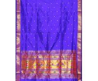 Blue Paithani Pure Silk Handloom Saree Single Pallu p0178