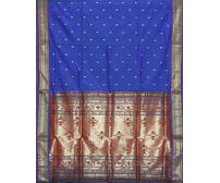 Blue Paithani Cotton Silk Handloom Saree Special Pallu p0184
