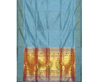 Light Blue Paithani Pure Silk Handloom Saree Special Pallu p0185