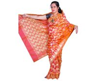 Orange Banarasi silk saree all over design with temple border