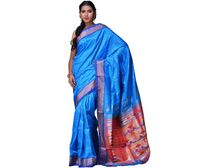 Blue Paithani Pure Silk Handloom Saree Double Pallu p0181