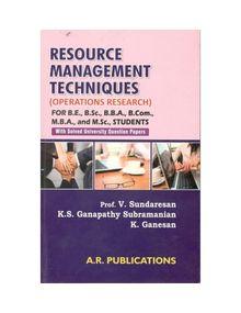 Resource Management Techniques   V.Sundharesan