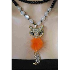 Rhinestone Orange Fox Fur Pendant Necklace