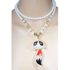 Rhinestone Fox Pendant Necklace