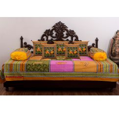 RajasthaniKart Traditional 8 Piece Diwan Set - 100% Cotton
