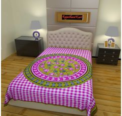 RajasthaniKart 100% Cotton Single Bedsheet