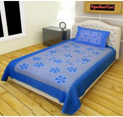 RajasthaniKart 100% Cotton Single Bedsheet with Pillow Cover