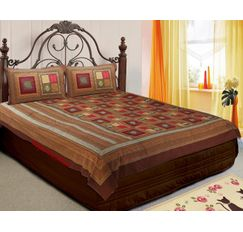 RajasthaniKart Marvella Cotton Double Beds-heet with Two Pillow Covers