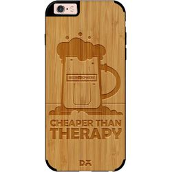 Beer Cheap Therapy Real Wood Bamboo Case For iPhone 6S