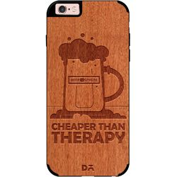 Beer Cheap Therapy Real Wood Red Chestnut Case For iPhone 6S