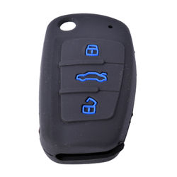KMH Silicone Key Cover for Audi A4 Button Flip Key (Black with Blue)