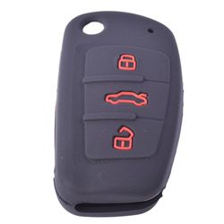 KMH Silicone Key Cover for Audi A4 Button Flip Key (Black with Red)