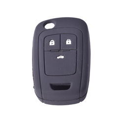 KMH Silicone Key Cover Fit for Chevrolet Cruze 3 Button Flip Key (Black)