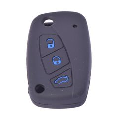 KMH Silicone Key Cover Fit for Fiat Linea Flip Key (Black with Blue)